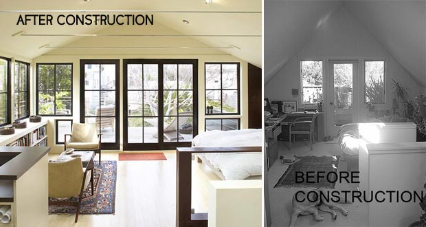 attic renovation before after by Feldman Architecture