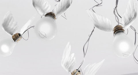 the stunning birds chandeliers by ingo maurer decojournal. Black Bedroom Furniture Sets. Home Design Ideas
