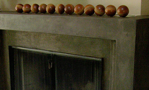 Concrete fireplace detail