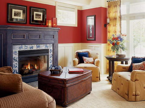 Interior Ideas Colored walls half red