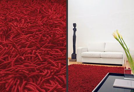 Lasa Long Pile wool carpets crimson red detail