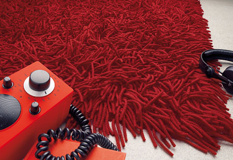 Lasa Long Pile wool carpets crimson red