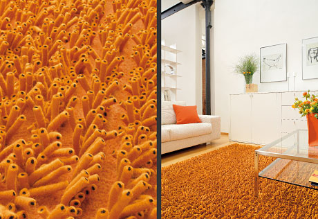 Lasa Long Pile wool carpets orange detail