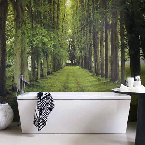 Natural Relaxing Bathroom trees mural