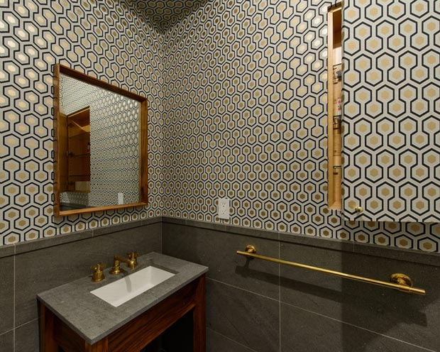 Powder Room wallpaper NY Apartment Jane Kim Design