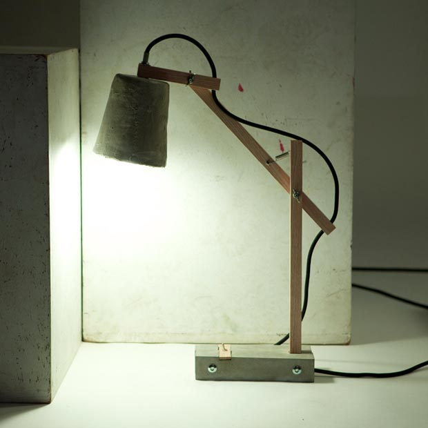 Remiz cement desk lamp by Sara Kele