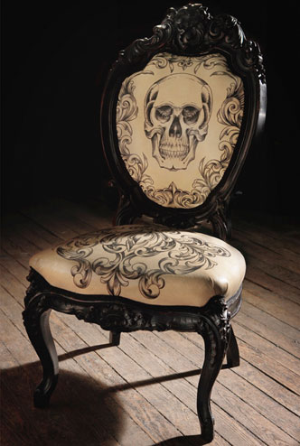 A hand tattooed leather chair.