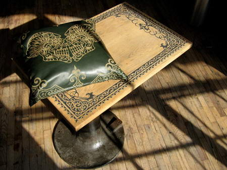 Tattoed table and pillow by Mama Tried