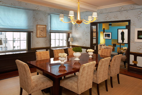 turquoise brown apartment interior