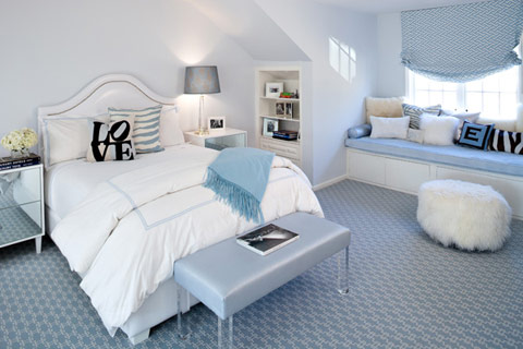 white blue room