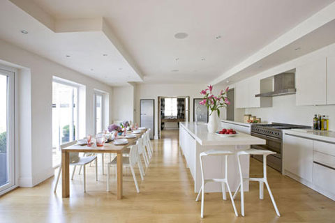 White Kitchen Dining wooden flooring Neil Lerner