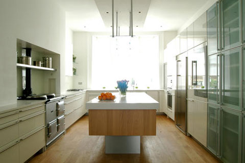 White kitchen wooden flooring Neil Lerner
