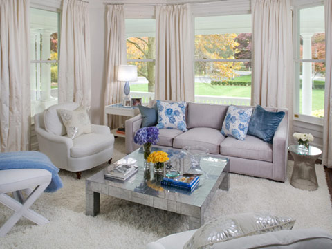 White Livingroom Silver Blue Accents