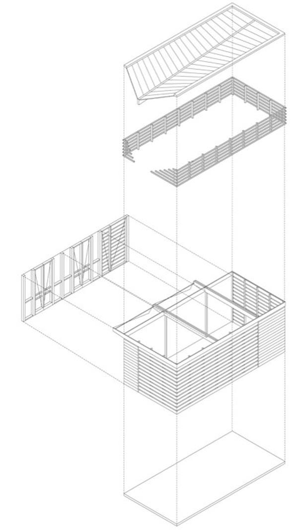 wooden pavilion poolhouse by Bauen Studio plans